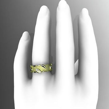14kt  yellow gold  leaf and vine  wedding ring,engagement ring ADLR252