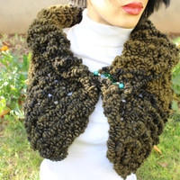 Green Hooded Scarf Tie Dye Wool Scarf Green Knit Stole Green Knit  Shrug Wool Winter Scarf Knit Cape Coat EXPESS SHIPPING