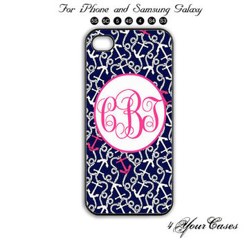 Monogram,Personalized INITIALS,Anchor,iPhone 5/5S,iPhone 5C,iPhone ,Samsung Galaxy S3, Samsung Galaxy S4 Phone case,iPhone 4/ 4S Case