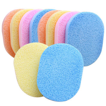 24Pcs/Lot Soft  Facial Cleansing Sponge Face Makeup Wash Pad Cleaning Sponge Puff Exfoliator Scrub Random Color K5BO