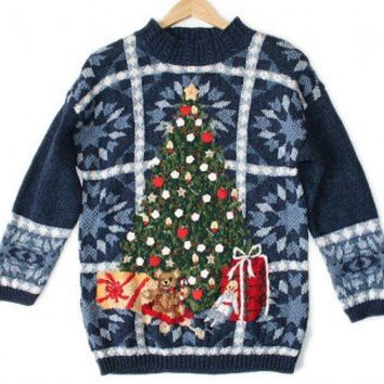 Shop Now! Ugly Sweaters: Big Christmas Tree Chunky Knit Slouch Tacky Ugly Sweater Women's Size Medium/Large (M/L) $30 - The Ugly Sweater Shop