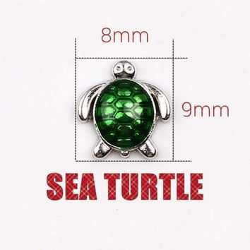 ON SALE - Green Enamel Turtle Free Floating Charm for Charm Locket Necklaces