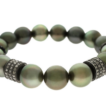 2.00ct Pavé Round Diamond in Tahitian Black Pearl Spiritual Beads Bracelet