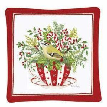 Gift Boxed Set of 4 Holiday Tea Cup Spiced Mug and Tea Cup Mats