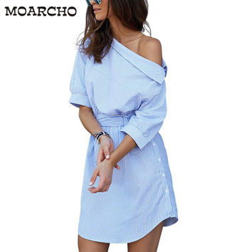 One shoulder Blue striped women shirt dress Sexy side split Elegant half sleeve waistband Casual beach dresses