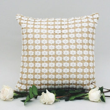 LACE BURLAP PILLOW    Burlap in Natural or Soft Pale Celadon Green . Shimmery Lace  . Throw Pillow . Durable Accent Pillow . Boho Pillow