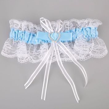 Women Sexy Lace Bowknot Garter Women Wedding Party Bridal Lingerie Lace Belt Female Heart-Shaped Rhinestone Garters