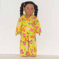 American Girl Doll Pajamas Lime Green Flannel with Hearts
