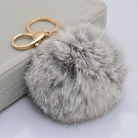 18 K Gold Plated Keychain with Plush Cute Genuine Rabbit Fur Key Chain for Car Key Ring or Bags 0025 (gray)