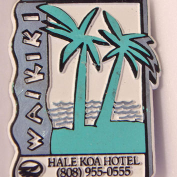 Waikiki Refrigerator Magnet Vintage Frige Hawaiian Vacation Souvenir Hale Koa Hotel Retro Kitchen Decor