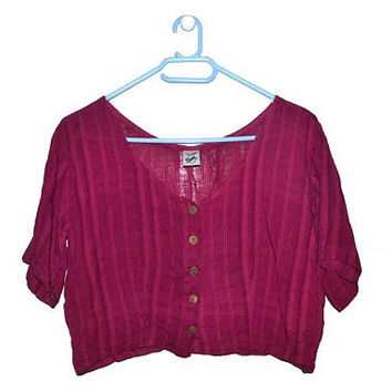 Vintage Burgundy Boho Crop Top 90s Medium M