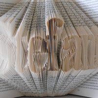 Folded Book Art - Decorative Arts Book Sculpture -  seven letters name - Wedding décoration