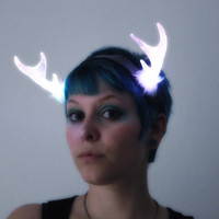LED Light Up Fantasy Antler Headpiece - Silver Glitter Vinyl with Rainbow LEDs