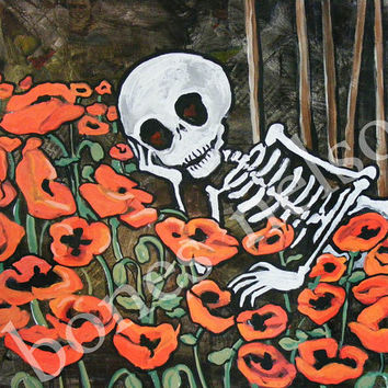 Poppy Love Art. Cute Skeleton Print. Day of the Dead Wall Art Home Decor. Daydream Romantic Red Black White Folk Art painting