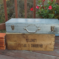 Vintage, even antique metal box,tool box with lid,grey Metal Storage Container. Decor. chest. organizer.TIGER