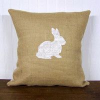 bunny rabbit pillow cover / silhouette  / bunny / rabbit / burlap pillow / white / natural / nursery / childrens decor / spring home decor