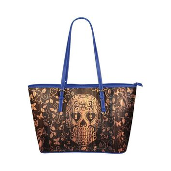Hip Water Resistant Small Leather Tote Bags Sugar Skull #1 (5 Colors)