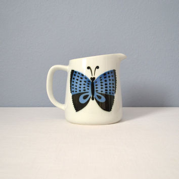 Pristine Large Vintage Arabia Finland Butterfly Pitcher