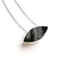Black Obsidian Necklace Black Eye Necklace Marquise Connector Silver Black Stone Necklace Black Obsidian Jewelry Eye Jewelry Mystic Stone