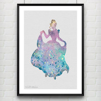 Cinderella Disney Watercolor Art Print, Princess Room Wall Poster, Baby Nursery Wall Art, Home Decor, Not Framed, Buy 2 Get 1 Free! [No. 17]