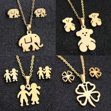 2019 New Fashion Elephant Women Jewelry Sets Stainless Steel Pendant Necklace Stud Earrings Sets For Women Jewelry
