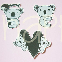 Koala bear Die cut  15 pcs. Bear die cuts , family love paper die cuts ,making card, cut out decoration scrapbook /paper craft