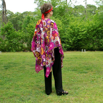 Crazy Daisy Design Lightweight Ruana, Shawl, Cape, Coverup or Wrap--One Size Fits Most Gypsies