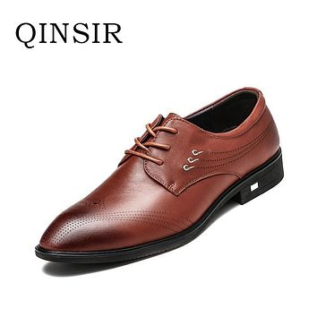 High Quality Fashion Handmade Mens Wedding Lace Up Genuine Leather Dress Shoes Party Business Male Mens Formal Shoes Hot Sale
