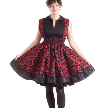Lolita Jumper Steampunk Dress Victorian Print Red and Black Flock JSK- Ready to ship Medium