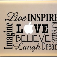 Macbook Live LAUGH Love Vinyl Decal Subway Art for Laptop or iPad