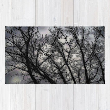 Haunted, black, grey, trees, nature, spooky - Decorative Throw Rug, 3 Sizes Available - Kitchen, New Home, Bathroom - Made To Order - H#07