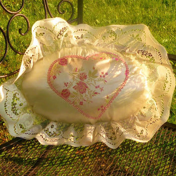 Appliqued Romantic Candlelight Satin and Lace Heart Pillow