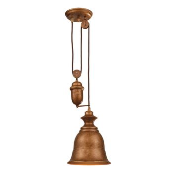 65060-1 Farmhouse 1 Light Adjustable Pendant In Bellwether Copper