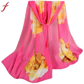 Fashion Chiffon Scarf 2017 Autumn Spring Lady Women Floral Prints Shawl Female Pashmina Blanket Wraps135cm-175cm
