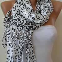 SALE SALE - Combed Cotton - Gift scarf - Leopard Scarf - White and Black Leopard Scarf
