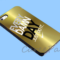 Gold nike just do it Case for iPhone 4/4S/5/5S/5C, Samsung Galaxy S3/S4, iPod Touch 4/5, htc One x/x+/S