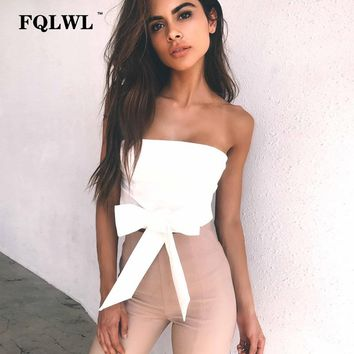 FQLWL Tie a Bow Strapless Sexy Crop Top Women Wrapped Chest Cross Bandage Tops Off Shoulder Elastic Summer Beach Tube Tank Tops