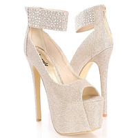 Kheisha-01 Champagne Glitter Rhinestones Peep-toe Pump High Heel Shoes