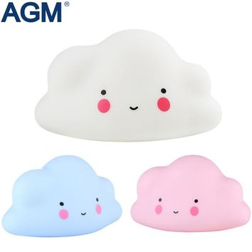 AGM LED Night Light Cloud Lamp Luminaria Cute Pink White Nightlight Battery Novelty Light For Baby Children Gift Decor Ornaments