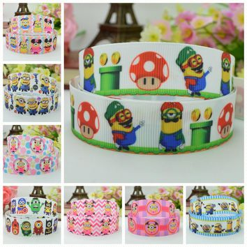 "DUWES 7/8"" 22mm 2 5 10 50 Yards Minions Printed grosgrain ribbon hair bow DIY handmade Retail"