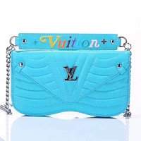 LV 2019 new wave pattern chain female models iphone8plus leather case phone case Blue