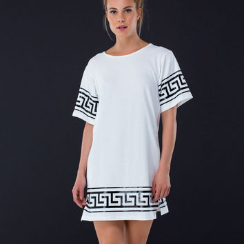 Greek Key To Success T-Shirt Dress
