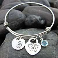 Mother's Bracelet - It's a boy - It's a girl - Expandable Bangle - Initial - Baby Feet - Heart - Birthstone
