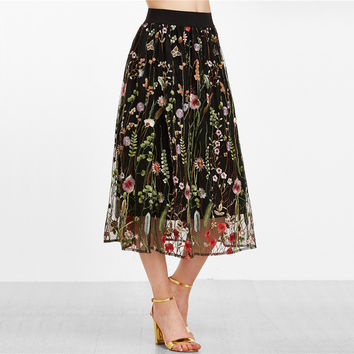'Ruby' Floral Embroidered Mesh Overlay Skirt