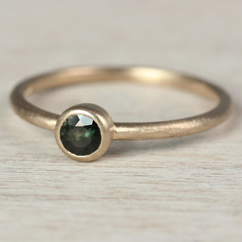 READY to SHIP Rustic Engagement Ring; 14k Yellow Gold, Australian Olive Green Sapphire; size 7 - Low Profile Engagement Ring - Textured Band