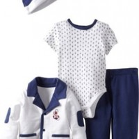 Little Me Baby-boys Newborn Drop Anchor 4 Piece Tmh Pant Set, Blue, 6 Months