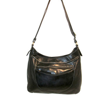 Authentic DEREK Alexander Genuine buttery soft Black Leather silver zipper roomy Medium Organizer Crossbody Messenger or shoulder bag purse