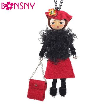 Bonsny Handmade Doll Necklace French Statement Doll Pendant Cloth Long Chain Fashion Jewelry For Women 2015 News Accessories