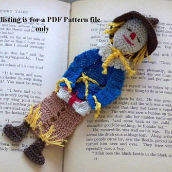 crochet PDF pattern, scarecrow of oz bookmark