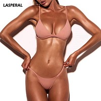 Solid Top Thong Micro Bikini Women Swimsuit Brazilian Bikinis Set Bathing Suit Beach Monokini